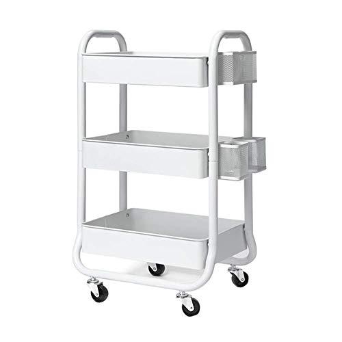 Wjsw scaffale carrello di stoccaggio cucina a 3 piani con barra laterale bagno rack con ruote rack di stoccaggio rotante carrello servizio di pulizia carrello pulizia auto (colore: bianco)