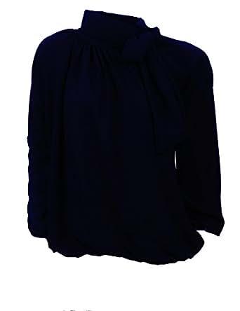 Moda Italia Elegante Damen Bluse aus Chiffon mit Steh, Schleifen Kragen Pump Bluse Tunika