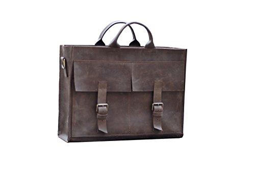 Leder Messenger schwere Tasche für Frauen oder Männer. Laptop Taschen braun (Clava Damen Aktentasche)