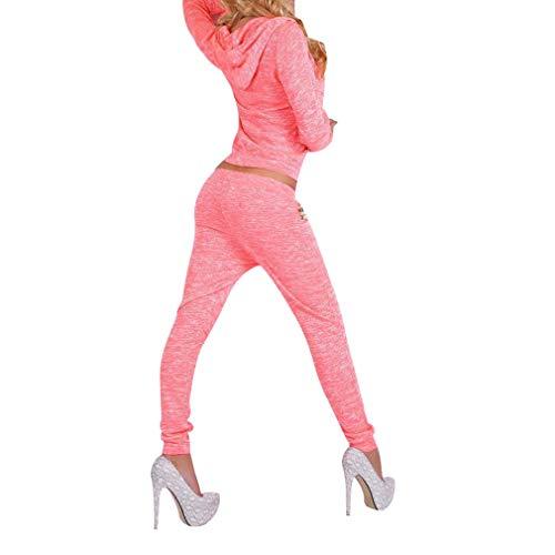 Hibote 2 Piezas Conjunto Mujeres Chándal Traje Casual con Capucha Trajes con Capucha Sólidos Pantalones Lápiz Rosa S