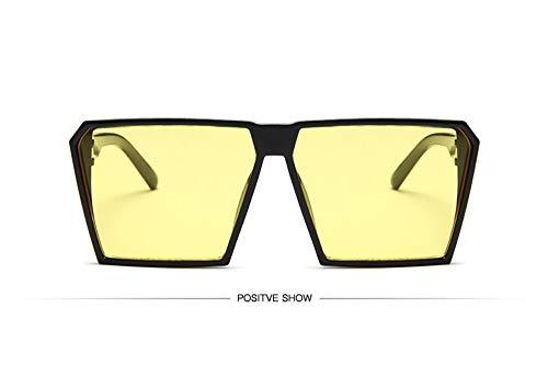 WSKPE Sonnenbrille,Sonnenbrille Mädchen Junge Kinder Sonnenbrille Mit Rechteckigem Rahmen Uv400 Brillen Fashion Kids Eyewear Schwarzen Rahmen,Gelbe Linse