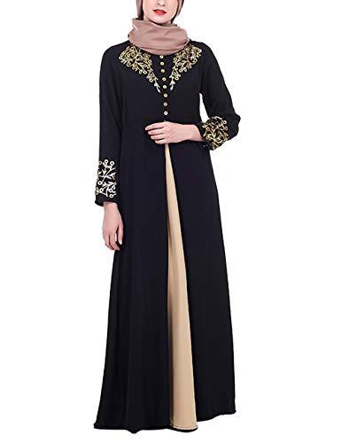 besbomig Vestido de Mujer Musulmán Islámicas Abaya - Elegante Largo Árabe Kaftan Vestido Largo Ropa Dubai Cardigan Blusa Jalabiya Maxi Vestido Boho Túnica Disfraz