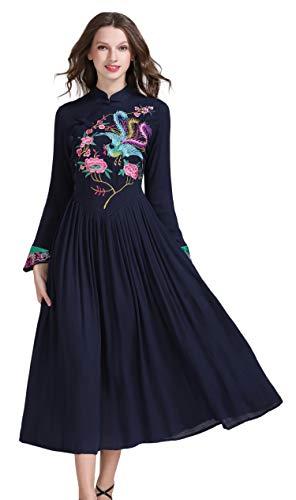 Frauen Langarm Chinesischen Traditionellen Stil Phoenix Floral Gesticktes Langes Kleid (Blau, S) -
