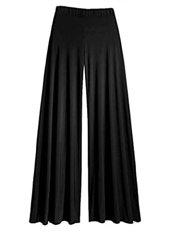 Size 16 Black Gothic Wide Leg Flattering High Waist Stretch Palazzo Pants/Trousers