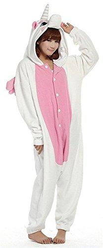 LATH.PIN Kigurumi Unisex Adulto Cosplay Halloween Costume Animale Pigiama Pink Unicorn