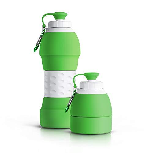 Lungogo Faltbare Trinkflasche Wiederverwendbare 580ml,Tragbar Auslaufsichere Wasserflasche aus Silikon,Reiseflasche für Laufen,Reiten,Wandern,Im Freien (Grün)