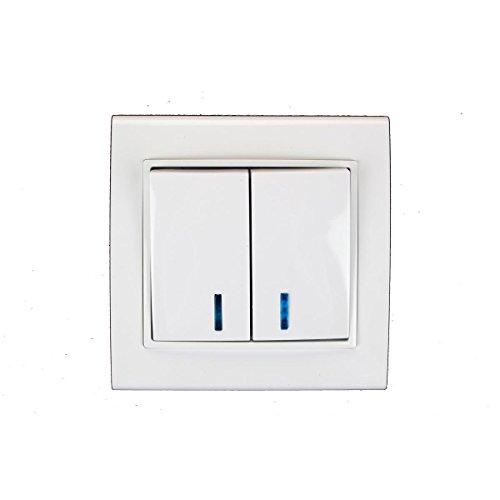 Unterputz Serienschalter beleuchtet weiß 10A, Doppel Zweifach Lichtschalter OKKO