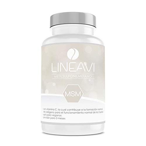 MSM LINEAVI   1200 mg de metilsulfonilmetano (99,9{f8397a070e909bffc31f514bc29bf59add21c0cfdc982160582c989f52c9a89c} puro)   24 mg de vitamina C   contribuye al funcionamiento normal de huesos y cartílagos   fabricado en Alemania   180 cápsulas (para 3 meses)