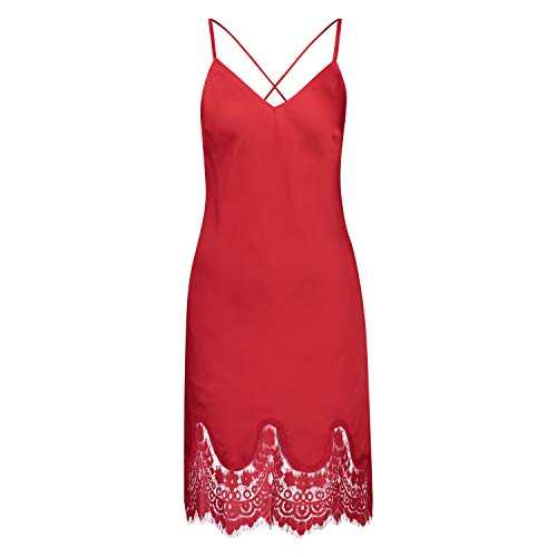 Hunkemöller Damen Slipdress Lace Satin Rot L