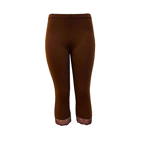 OYSOHE Damen Hosen Slim Fit Yoga Sport Fitness Leggings 3/4 Shorts Kurze Hose(Kaffee,Large)