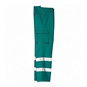 Pantalón de Trabajo de Algodón Con Bandas Reflectantes, verde