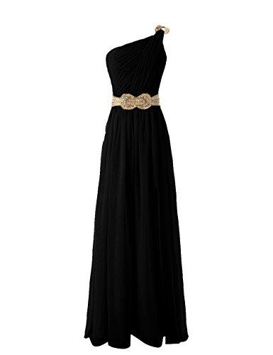 Dressystar Robe de demoiselle d'honneur/de soirée/de Cérémonie longue, à Une Bretelle, Sans Manches, au drapé, Fente Avant, avec une ceinture à paillettes, en Mousseline Noir