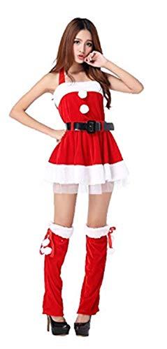 PICCOLI MONELLI Vestito Babbo Natale Donna Sexy in ciniglia e Pelliccia con Gonna Copri Stivali Top Cinturone Taglia Unica