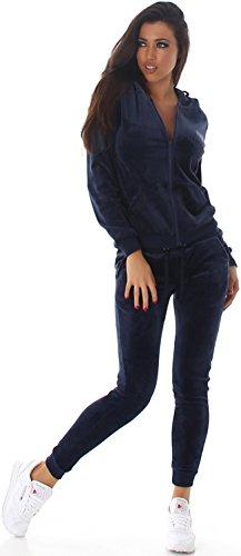 Jela London Damen Velours Jogginganzug Nicki Samt Hausanzug Jacke Kapuze & Hose, Dunkel-Blau L