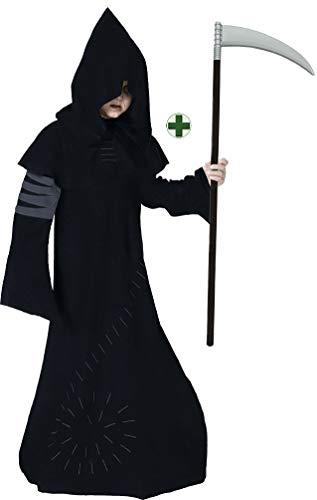 (Karneval-Klamotten Sensenmann Kostüm Kinder Henker Jungen-Kostüm Gevatter Tod Grim Reaper MIT Sense Halloween-Kostüm Größe 128)