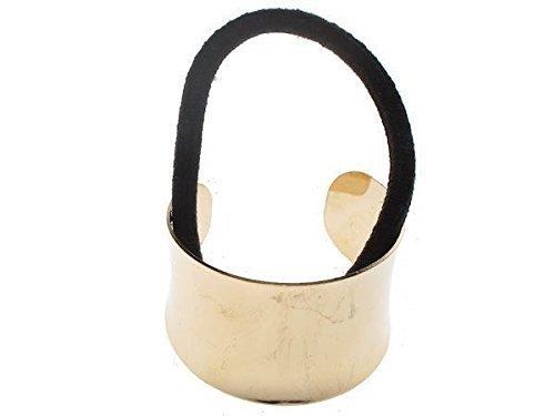 Gilt Gold Metall Pony tailcurved Ring Halter Hair Wrap schwarz Elastic Manschette Schmuckherstellung, geschliffen, großhandelsprodukt (Manschette Halter)