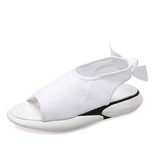 donne sandali estivi peep toe mesh tessuto bowtie scarpe piatte slip on comfort casual spiaggia sport scarpe