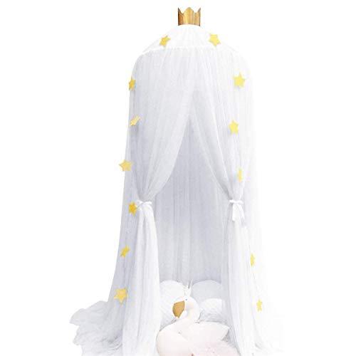 TIUTIU Bettvorhänge Prinzessin Moskitonetz - Kinderzimmer Bettvorhang - Babyspielhaus Runde Junge Mädchen Spielen Lesezelt - Schlafzimmer Dekoration (White)