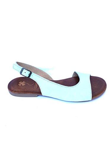 Sandali tacco basso CL461 in pelle cuoio bianco nero zeta MainApps Turchese