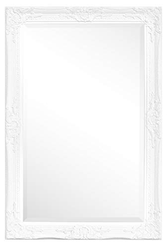Rococo by Casa Chic - Weißer Shabby Chic Wandspiegel - 90 x 60 cm - Handgefertigter Spiegel - Barock - Groß - Massivholz - Antik Weiss