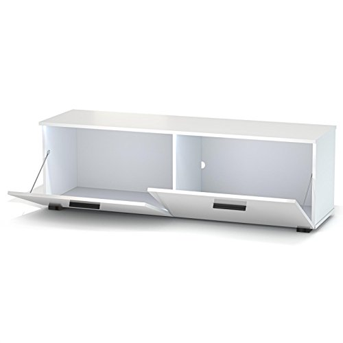 TV Lowboard Bank MALIBU in weiß hochglanz mit LED Beleuchtung, 138 cm Fernsehschrank - 4