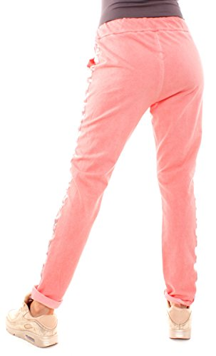 Easy Young Fashion Damen Vintage Sweathose Pailletten Stern corall