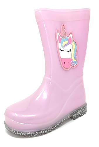 Childrens Kids Fun 3D Glitter Wellington Boots Rain Wellies Girls Mid Calf Snow Boots