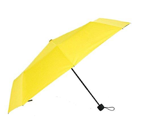 GAOLIGUO GL&G Ultra-light Travel Umbrella Manueller Regenschirm mit super starker Sonnenschutzfunktion, 3 Fold Anti-UV Sunny und Day Rain Zwei Verwendet Regenschirm,Yellow,Diameter 98cm