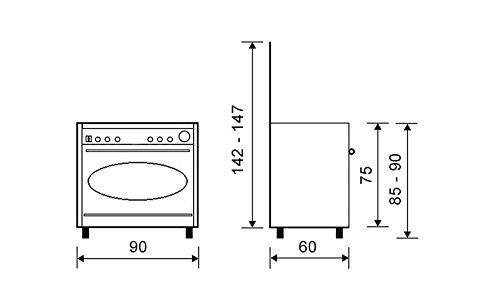 Vitrokitchen CB96PBB Independiente Encimera de gas Blanco - Cocina (Cocina independiente, Blanco, Giratorio, Frente, Encimera de gas, medio)