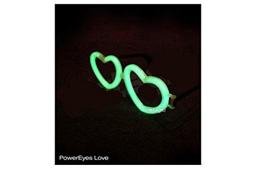 1Paar Brille Neon Herzen grün-ideal für Partys