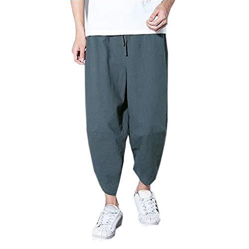 Dorical Herren Neun-Length Lang Pants/Männer Mid Taille Oversize Lose Sporthose/Freizeithose/Lose Slim Fit Casual Pants Hosen Sommer/Sommerhosen/Freizeit Hose Sale(Grau,Medium)