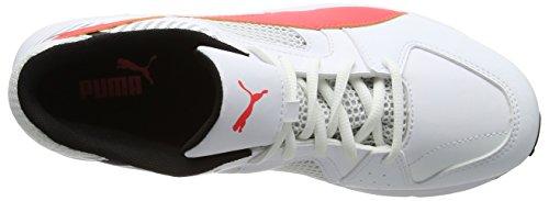 Puma Team Rubber, Scarpe da Cricket Uomo Bianco (White-fiery Coral-black)
