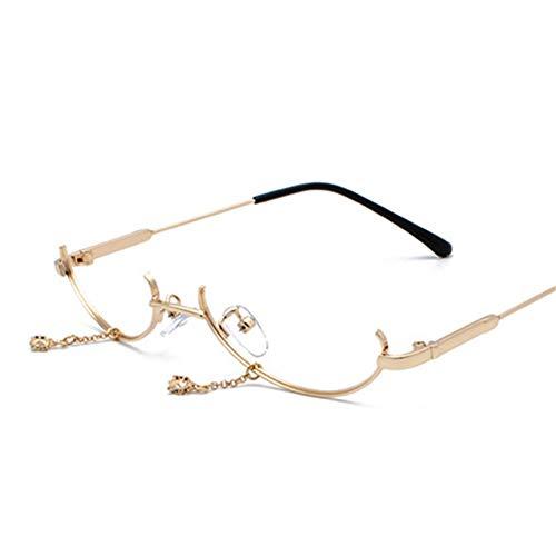 GJYANJING Sonnenbrille Ohne Linse Vintage Mode Brillengestell Frauen Luxus Design Anhänger Dekoration Halbbild Brillen MädchenBrille