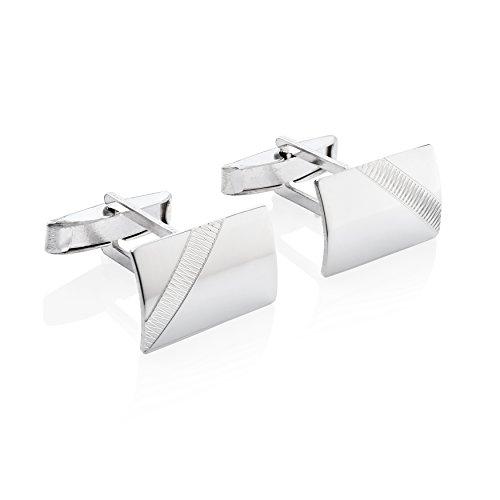 STERLL Herren Silber-Manschettenknöpfe echt Silber glänzend mit gezacktem Muster Geschenkbox Geschenkideen für Männer