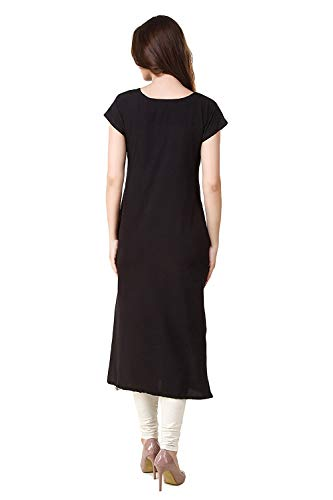 I-Brand Casual Wear Straight Ankle Length Crepe Kurti for Women or Girl's (ISUNK883-S Crepe Kurti) Blue and Black