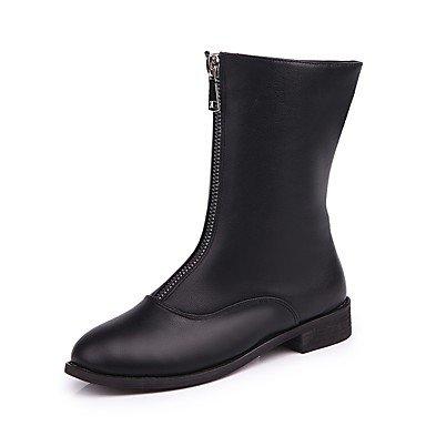 RTRY Scarpe Donna Similpelle Autunno Inverno Comfort Moda Stivali Stivali Tacco Basso Round Toe Stivali Mid-Calf Zipper Per Abbigliamento Casual Nero Black Us5.5 / Eu36 / Uk3.5 / Cn35 US8 / EU39 / UK6 / CN39
