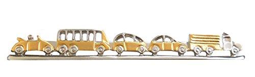 magdalena r. Bus Cabrio LKW Krawattennaden Krawattenklammer Auto Stau Bicolor glänzend 6,9 cm +Silberbox