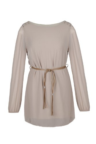 Apparel Outlet - Mini robe style Tunique à manches longues - Babydoll - Femme Beige