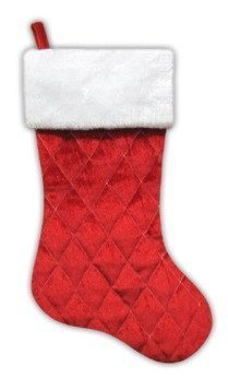 20 Traditional Red Quilted Velveteen Christmas Stocking with White Faux