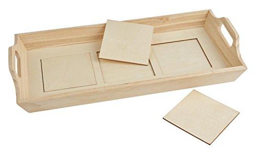 VBS Holztablett Marokko 44x21x7cm mit Fliesen Holz
