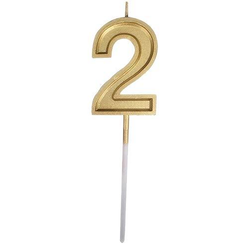 Colorful Deko-Kerze Nummer Kuchenkerze, Gold Geburtstagskerzen Kerzen Geburtstag Birthday Candles Zahlenkerze Zahl Kuchen Topper Dekoration für Party Kinder Erwachsene (Number 2) (Kerze 2 Nummer Topper Kuchen)