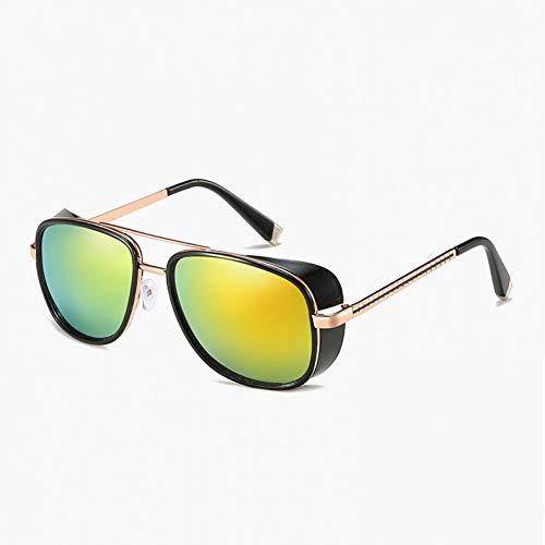GJYANJING Sonnenbrille Männliche Steampunk Sonnenbrillen Tony Stark Iron Man Sonnenbrillen Retro Vintage Eyewear Steampunk Sonnenbrillen Uv400 Sonnenbrillen