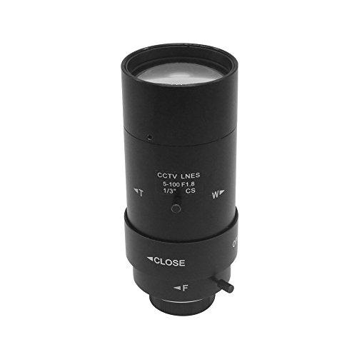 OWSOO Objektiv 5-100mm CS F1.8 1/3 Zoll Manuelle Iris & Brennweite Varifokal Zoom CS-Mount Objektiv für CCTV Kamera Cs-mount