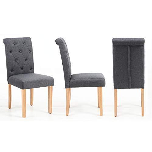 Neo 2 X Paar von Stoff Taste Hohe Rückenlehne Rolle Top Seat Esszimmer Stühle Set Holz Eiche Beine - grau, 44cm x 56cm x 93.5cm