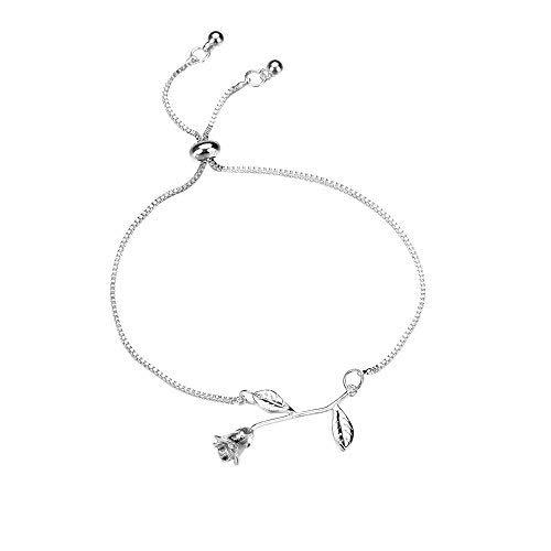 Bracciale a Braccialetto da donna con Monili del braccialetto dei braccialetti placcati Roseflower del cristallo di rocca delle donne regolabili