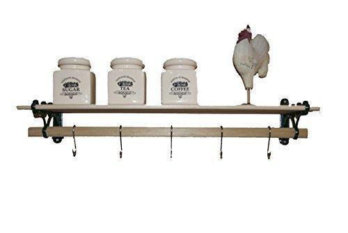 5 listello casolare maid mensola set con 60CM Legno di liriodendro (legno duro) legname listelli e nero ghisa componenti