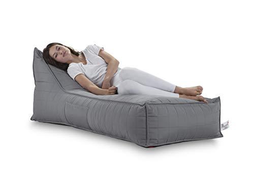 Komfort Sac-schaum (Pozitive Long Jack Sitzsack 144,8 x 68,6 cm, strapazierfähig, wetterfest, bequem und klassisch, für Ruhe und Entspannung. Für den Innen- und Außenbereich geeignet grau)