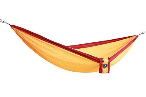Camper Doppel - Leichthängematte aus Fallschirmseide gelb-bordeauxrot
