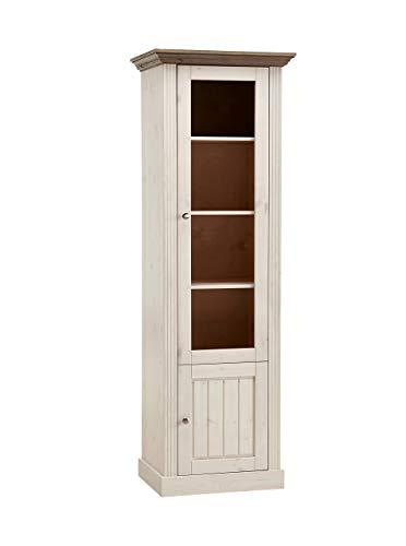 Steens Monaco Einzelvitrine, 1 Türe, 62 x 190 x 42 cm (B/H/T), Kiefer massiv, weiß grau