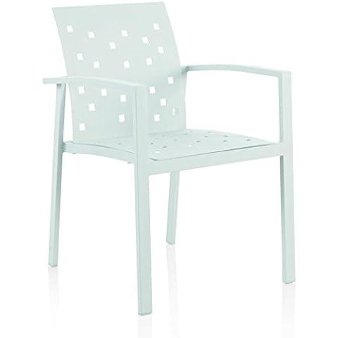 GEESE 5511 - Sillón de aluminio, 60 x 56 x 82 cm, color blanco